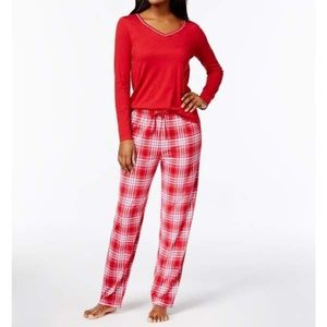 Nautica V-Neck Cotton-Blend Pajama Set 2XL Red